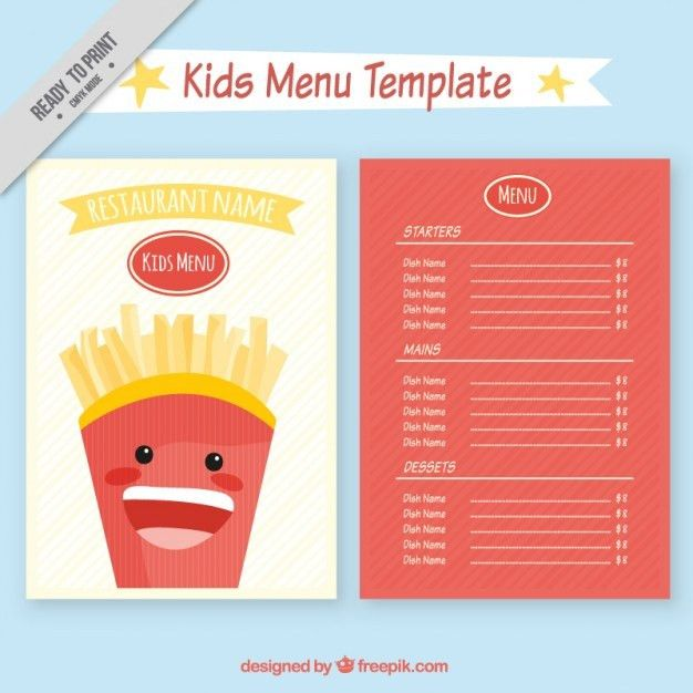 Kids restaurant menu template Vector | Free Download