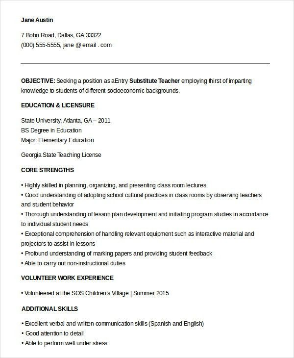 Amazing Substitute Teacher Resume 94 On Resume Sample With ...