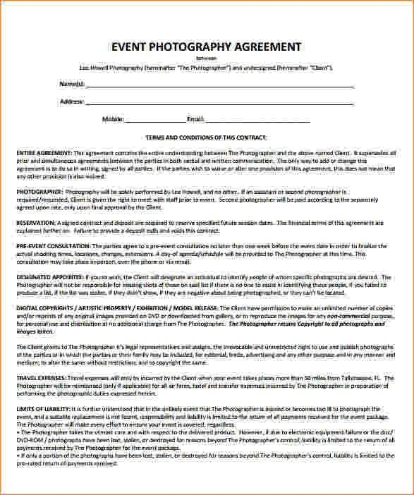 Event Contract Template. Example Event Photography Contract Pdf ...