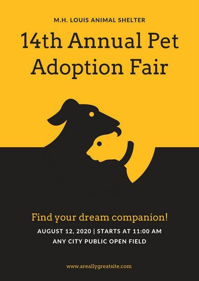 Black and Yellow Illustrated Pet Adoption Poster - Templates by Canva