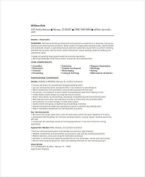 structural welder sample resume resumes objective examples welder ...