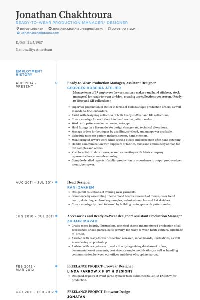 Assistant Designer Resume samples - VisualCV resume samples database