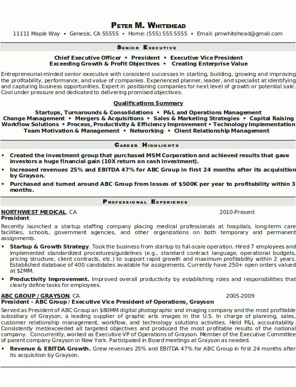 Resume Sample 8 - Senior Executive resume - Career Resumes