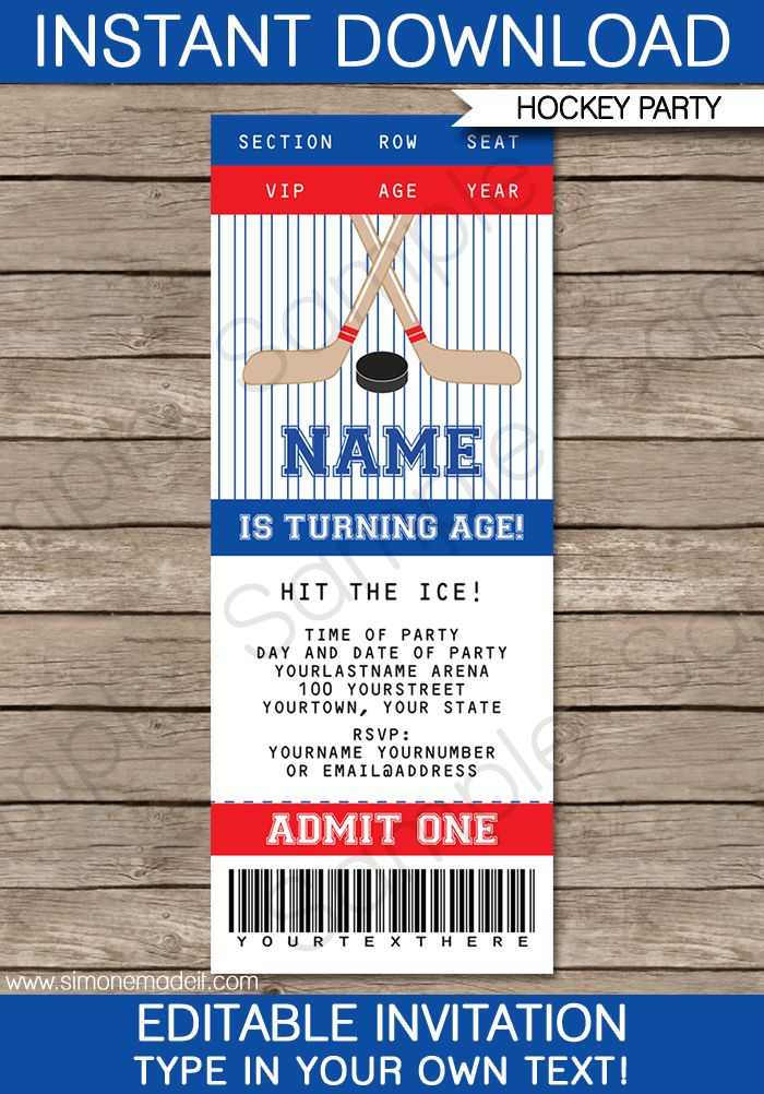 Hockey Ticket Invitations | Birthday Party | Template