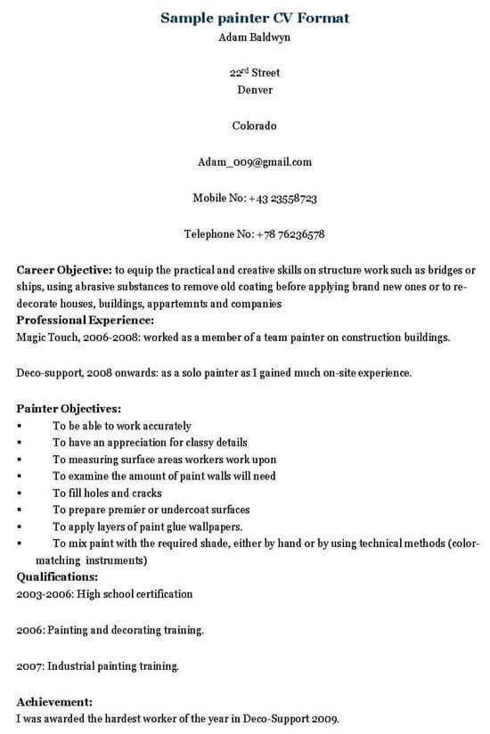Painter Resume Sample