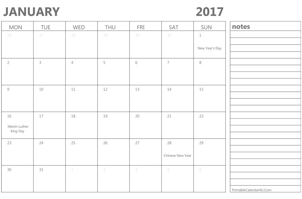 Printable January 2017 Calendar Template Word, PDF
