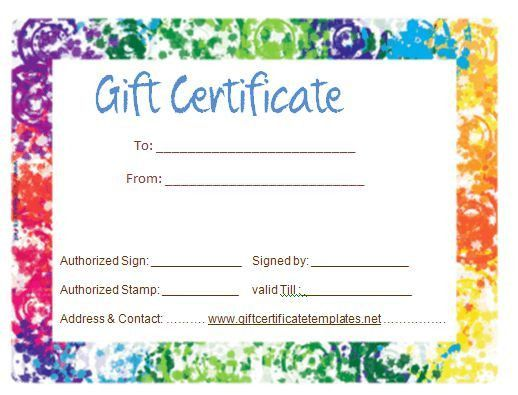 Colorful border gift certificate template | Beautiful Printable ...