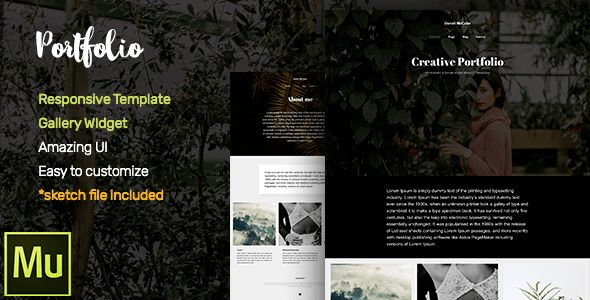 Portfolio Adobe Muse CC Responsive Template + Gallery Widget by ...