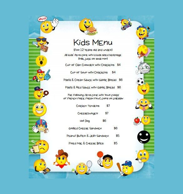 20+ Kids Menu Templates – Free Sample, Example Format Download ...