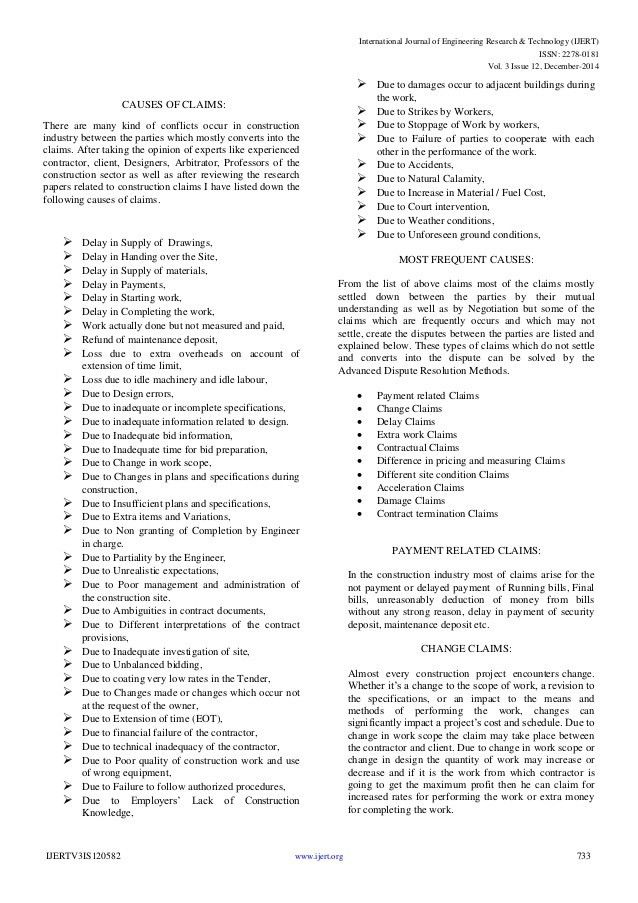 """Types and Causes of Construction Claims"""""""