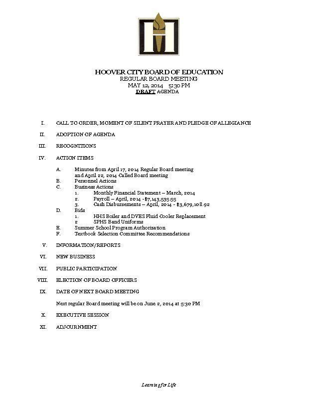 Draft Agenda – May 12 Board of Education Meeting – Hoover City ...