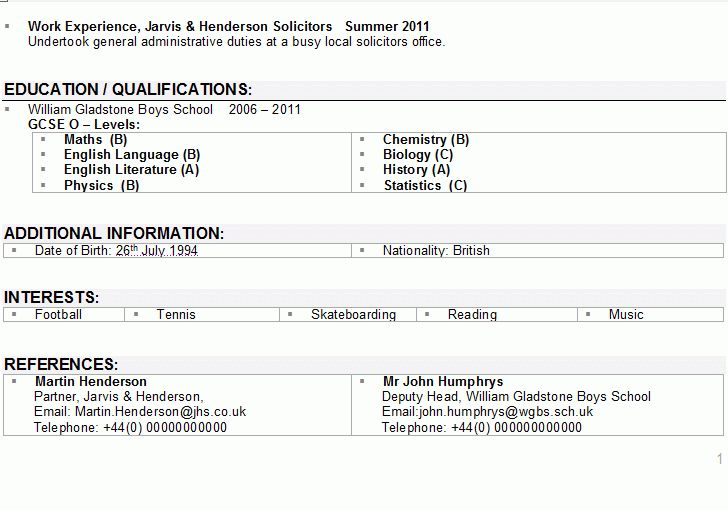 Examples of cv for students