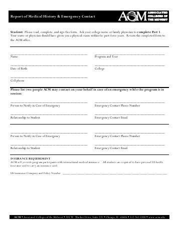 Emergency Contact Forms. Medical Emergency Contact Release Form ...