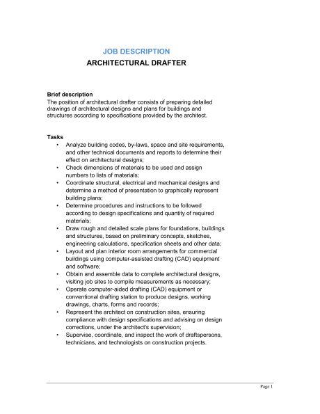 Architectural Drafter Job Description - Template & Sample Form ...