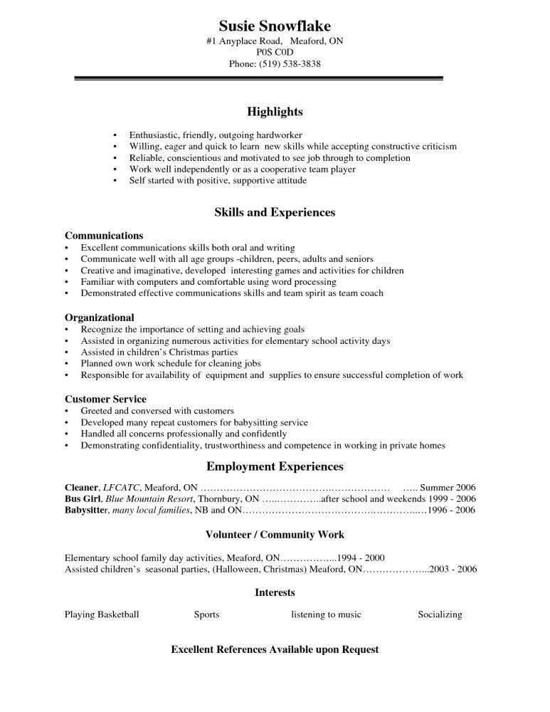 Example Of Resume For High School Students - Best Resume Collection