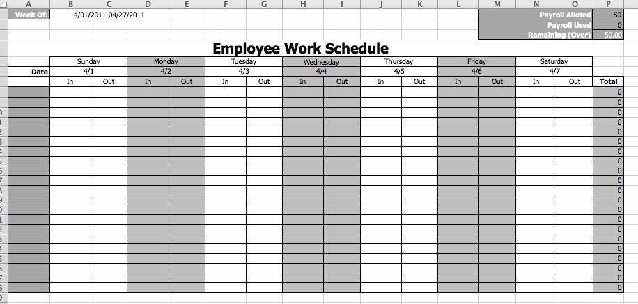 Employee Work Schedule Template   business templates   Pinterest ...