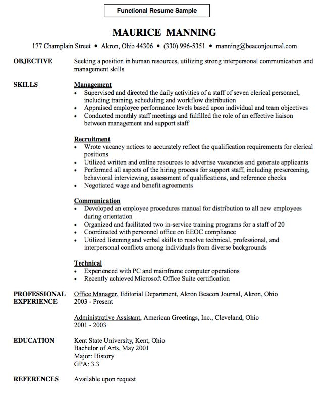 Functional Resume Sample - http://resumesdesign.com/functional ...