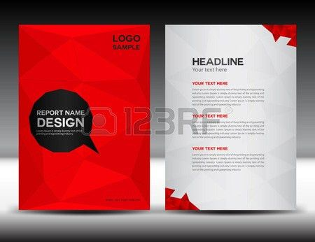 Red Cover Annual Report Template,polygon Background,brochure ...