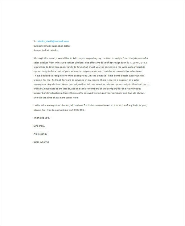 9+ Sample Email Resignation Letters - Free Sample, Example Format ...