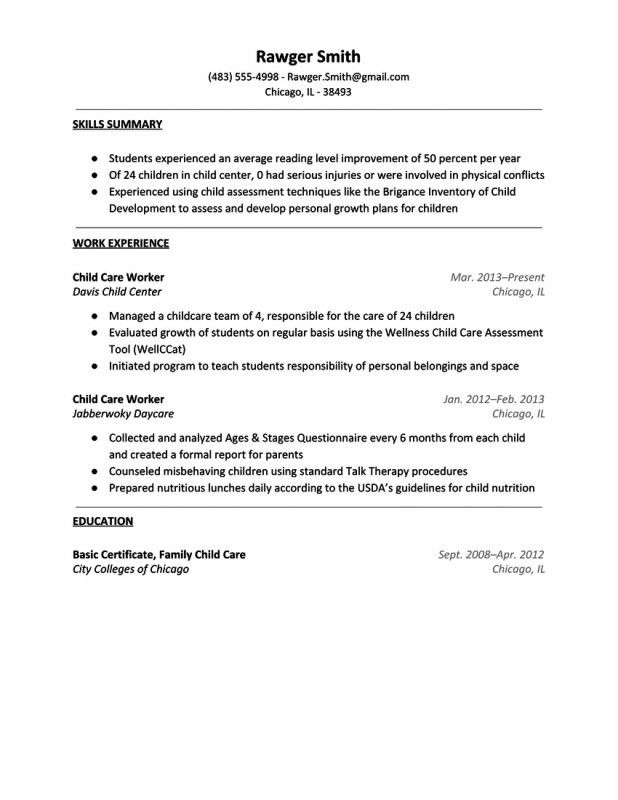 Daycare Resume Examples. Day Care Worker Resume Sample Resume For ...