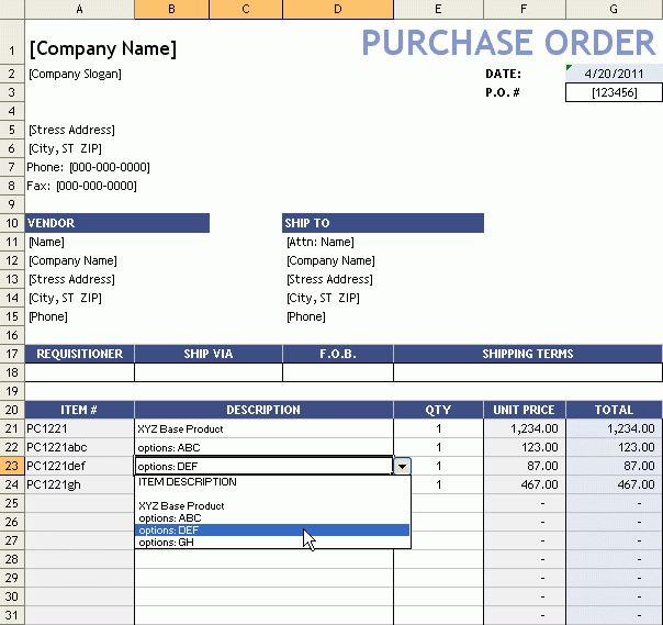 Purchase Order With Price List | Free Excel Templates | Pinterest ...