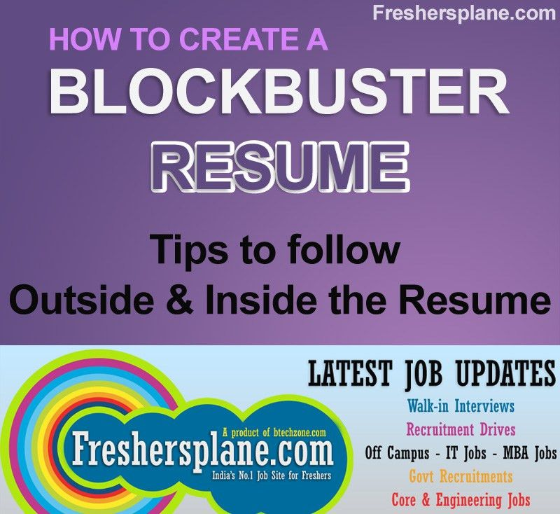 Resume Writing Tips for Freshers | Experience | Sample | Tips | Best