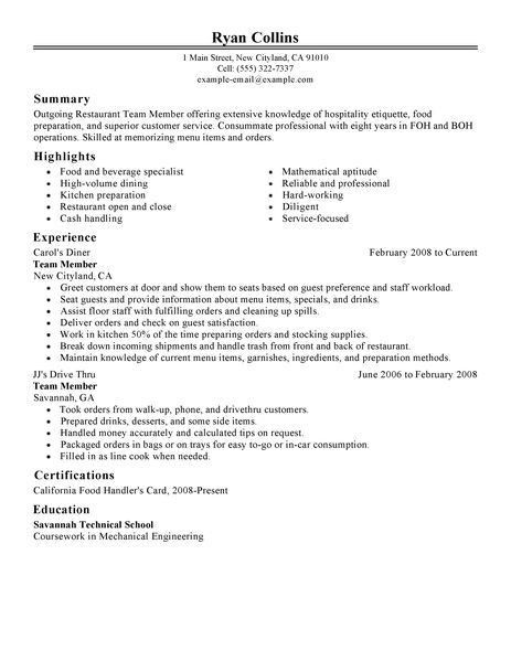 Best Restaurant Team Member Resume Example | LiveCareer