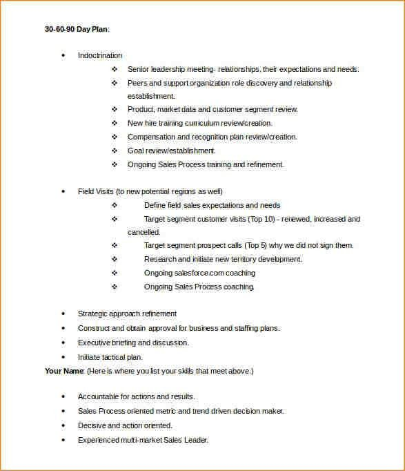 8+ 30 60 90 plan template | academic resume template