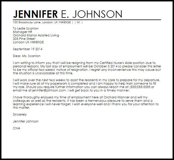 Cna Resignation Letter | Resignation Letters | LiveCareer