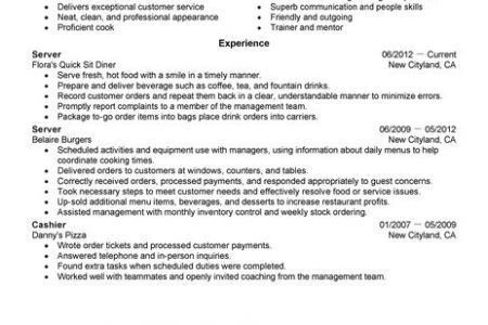 fast food worker resume unforgettable fast food server resume