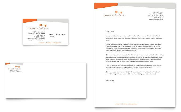 Commercial Real Estate Property Business Card & Letterhead ...