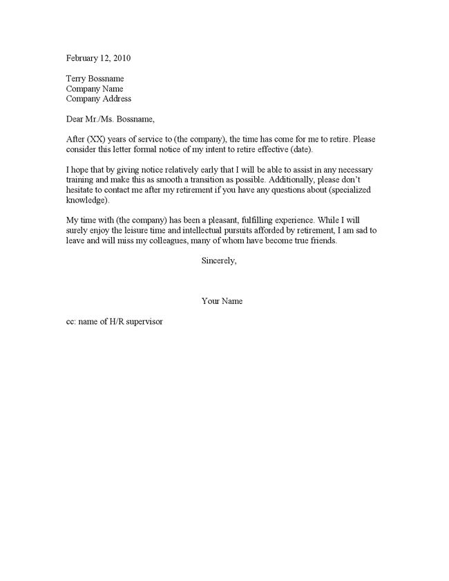 Resignation Letter Due To Unsatisfactory Work Circumstances Sample .  Letter Of Retirement