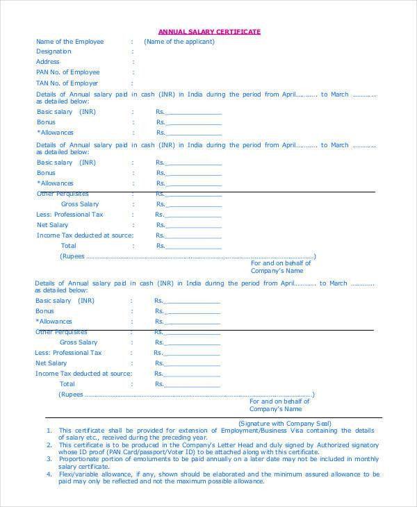 6+ Salary Certificate Examples, Samples