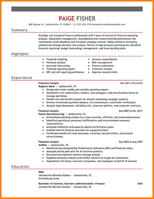 7+ financial analyst resume | nypd resume