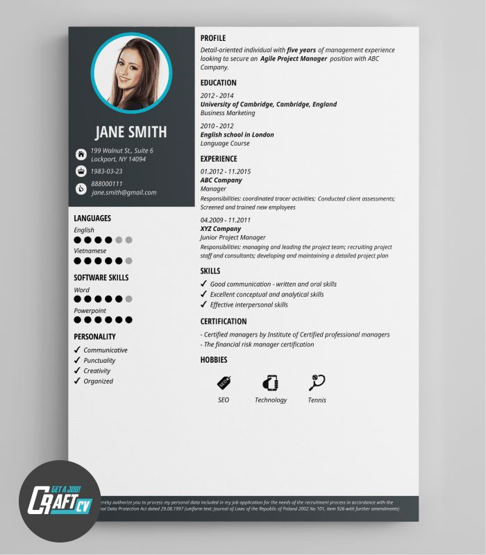 Modern CV Example | Original CV Layout | Resume Templates ...