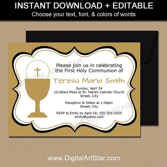 Gold First Holy Communion Invitation Printable Template 1st