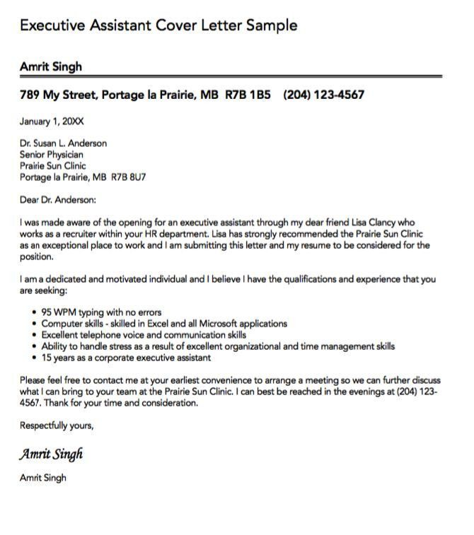 Ceo Personal Assistant Cover Letter