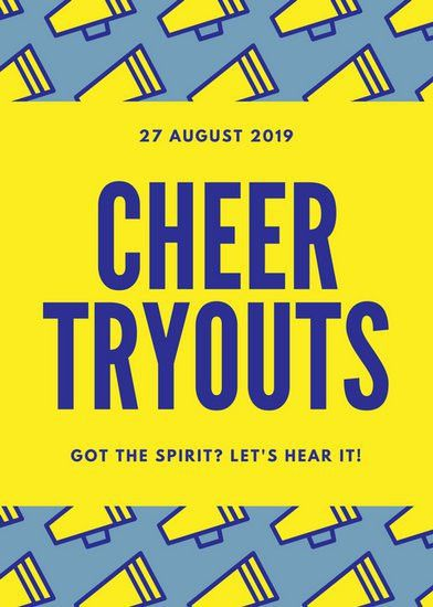 Blue and Yellow Megaphone Cheer Tryouts Sports Flyer - Templates ...