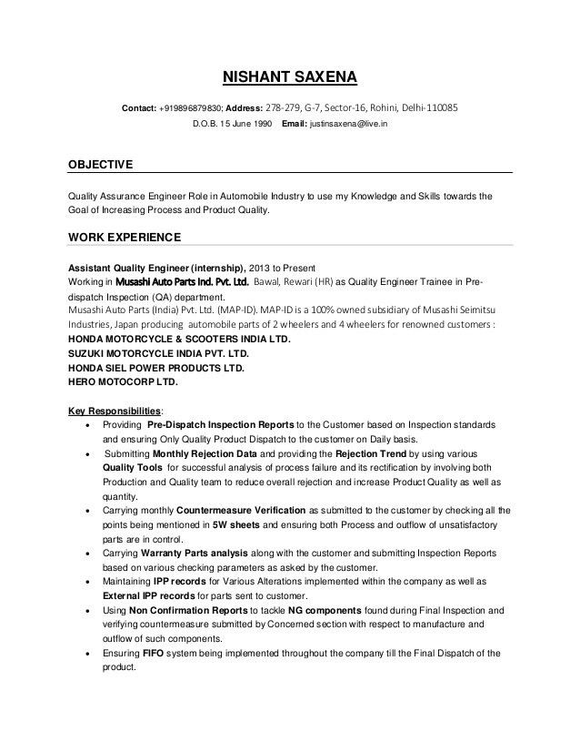 Download Quality Engineer Resume | haadyaooverbayresort.com