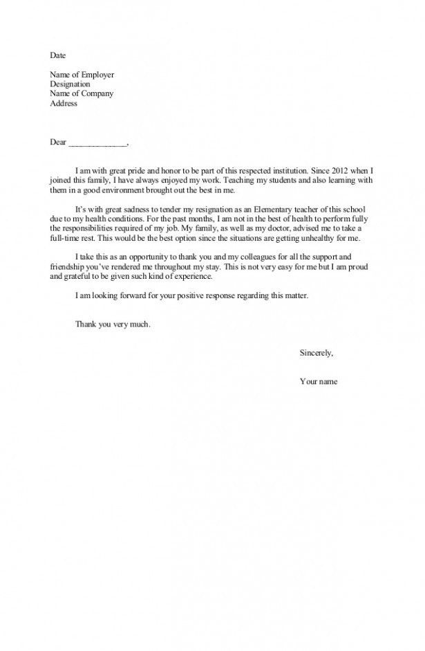 Resignation Letter Format Microsoft Word | Professional resumes ...