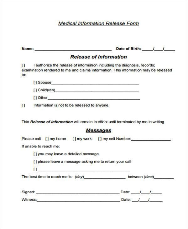 Medical Information Release Form. Blank Medical Records Release .