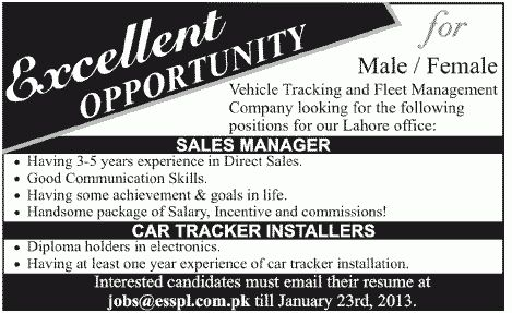 Sales Manager & Car Tracker Installers Required at Electronic ...