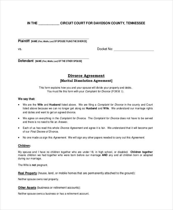 Divorce Agreement. How To Win A Divorce Settlement Agreementgoing ...