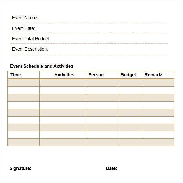 Sample Event Schedule Template. Free Event Schedule Template Event ...
