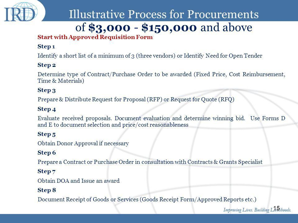 IRD Procurement Policy: Highlights Current IRD Procurement Policy ...
