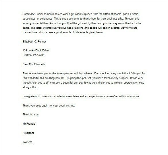 Business Thank You Letter For Gift | The Letter Sample