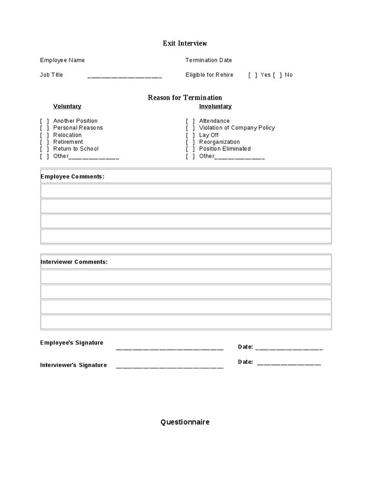 Employee Exit Form Template Exit Interview Form 9 Free Pdf Word – Exit Interview Form