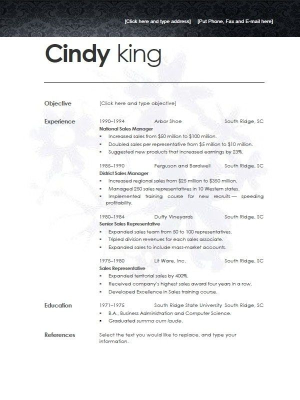 Resume Templates For Open Office   Template Design