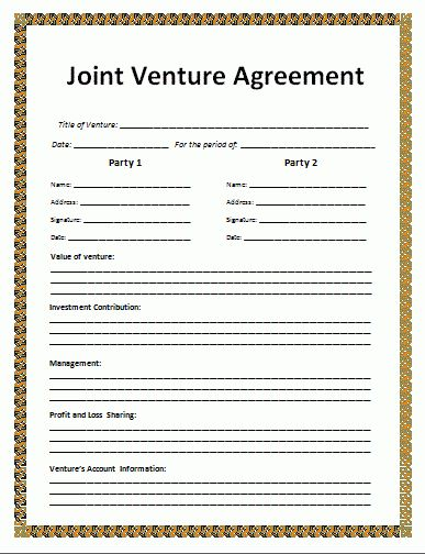 4+ joint venture agreement template | Outline Templates