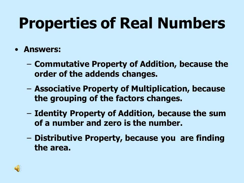 Lesson 1-8 Properties of Real Numbers Commutative Properties ...